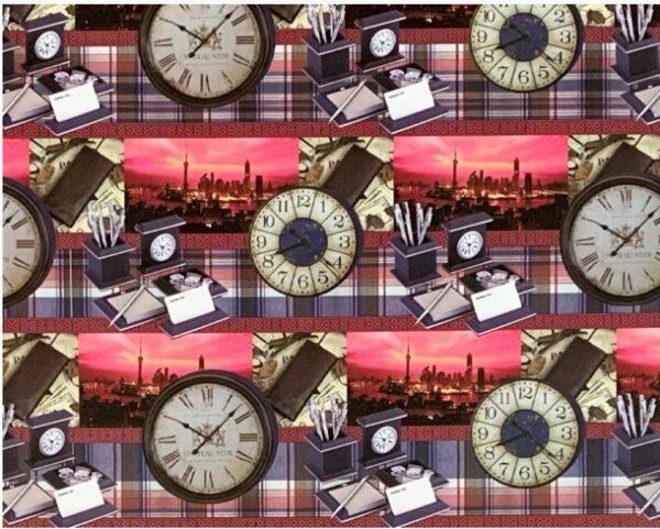 """Бумага Подарочная 85 """"Часы"""" (70х100)"""