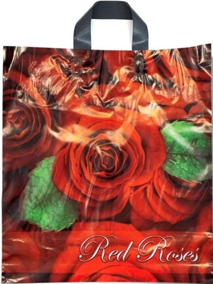 Пакет с петлевой ручкой тип «Диор» «Red Roses» (39*41) 25 шт.