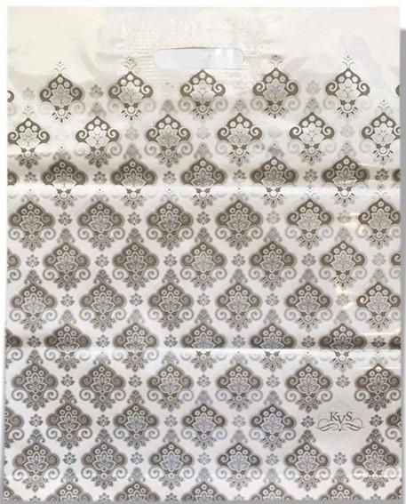Пакет с прорезной ручкой «Орнамент» белый (40*50) 25 шт