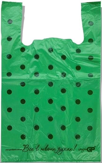 Пакет-Майка «Горох» зелёный (30×50) 250 шт