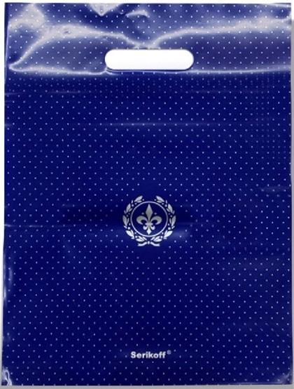 Пакет с прорезной ручкой тип «Serikoff» синий глянцевый (30*40) 25 шт