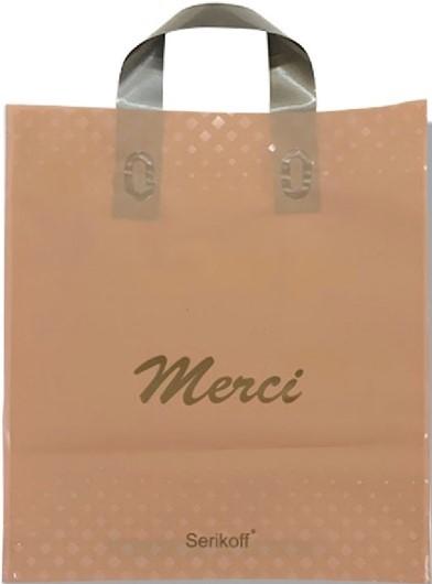 Пакет с петлевой ручкой тип «Serikoff» «Merci» бежевый (30*35) 25 шт