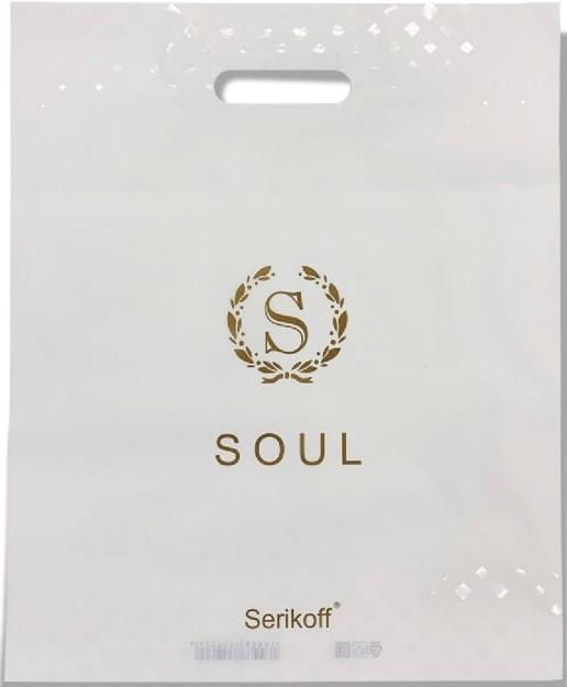 Пакет с прорезной ручкой тип «Serikoff» «Soul» белый (40*47) 25 шт