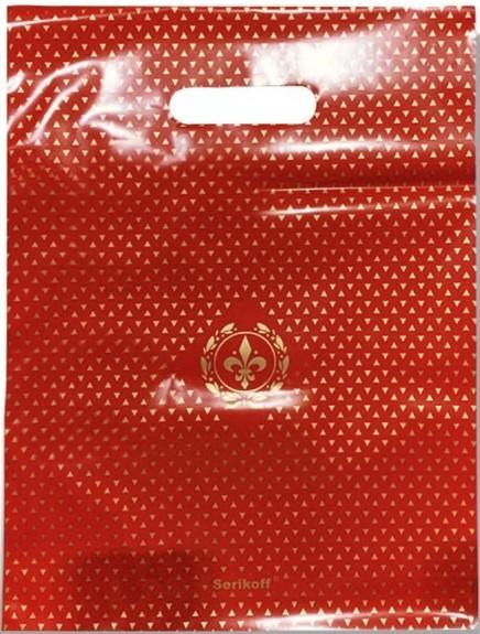 Пакет с прорезной ручкой тип «Serikoff» красный глянцевый (30*40) 25 шт