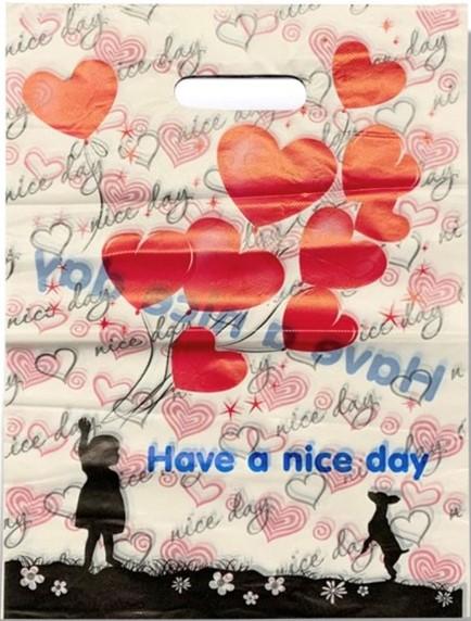 Пакет с прорезной ручкой тип мини «Have a Nice Day» (30*40) 50 шт