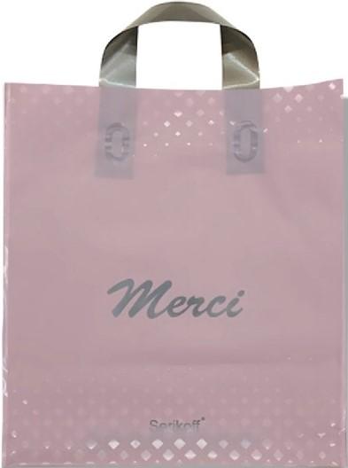 Пакет с петлевой ручкой тип «Serikoff» «Merci» розовый (30*35) 25 шт